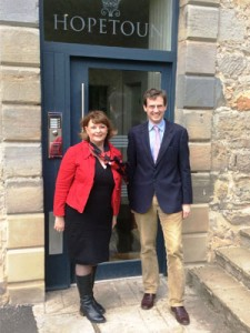 Fiona Hyslop  MSP visiting the Estate's archives with Lord Hopetoun