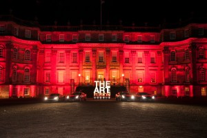 House lit in red